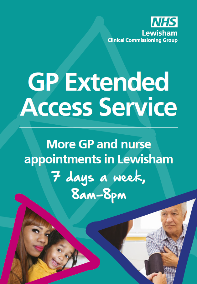 GP Extended Access Service. More GP and nurse appointments in Lewisham 7 days a week, 8am - 8pm