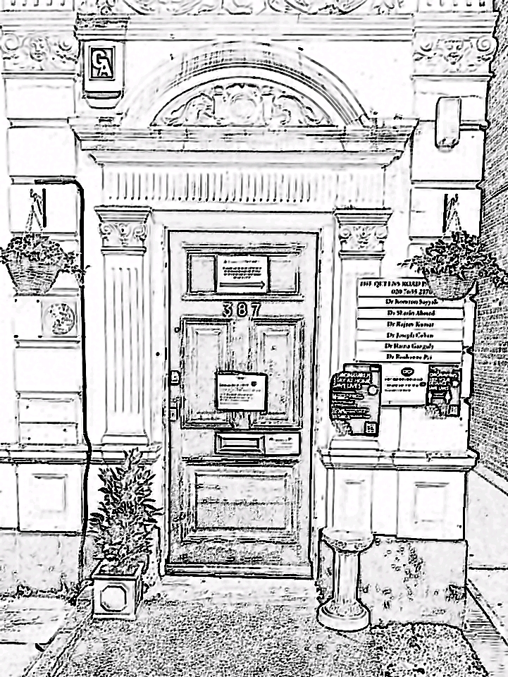 drawing of the entrance to the practice